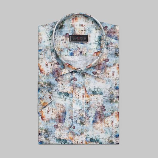 Hørskjorte med print