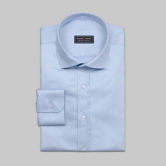 chemise business en satin bleu clair élégante
