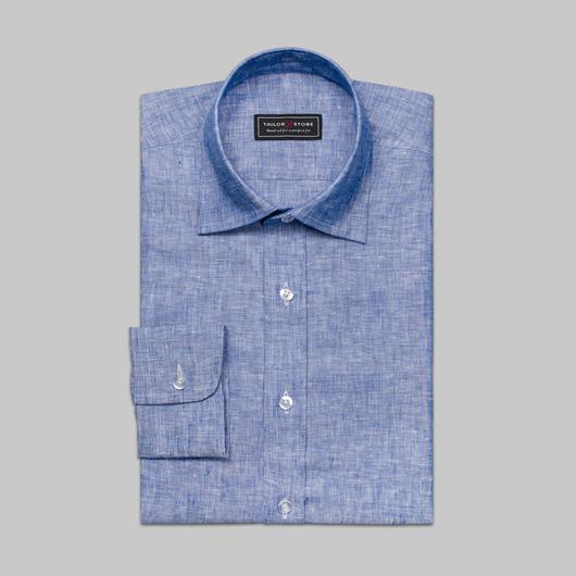 Blå hørskjorte med business-krave