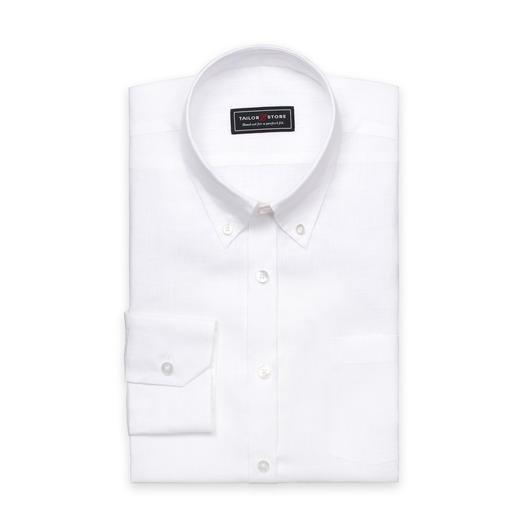 Vit linneskjorta med button-down classic krage