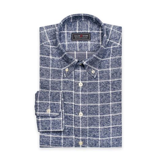 Grijs/wit geruit button-down classic flanellen overhemd