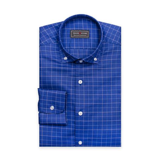 Klarblå/hvitrutete skjorte i bomull