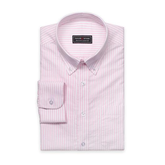 Wit/Roze gestreept Oxford overhemd