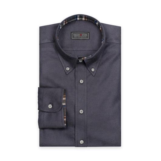 Mörkgrå flanellskjorta med button-down classic krage