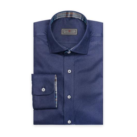 Marinblå flanellskjorta med cut-away classic krage