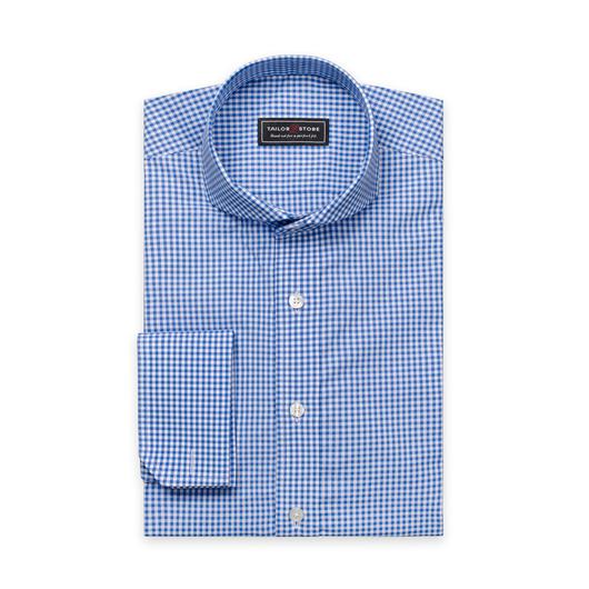 Popelinowa koszula w biało-niebieską kratkę