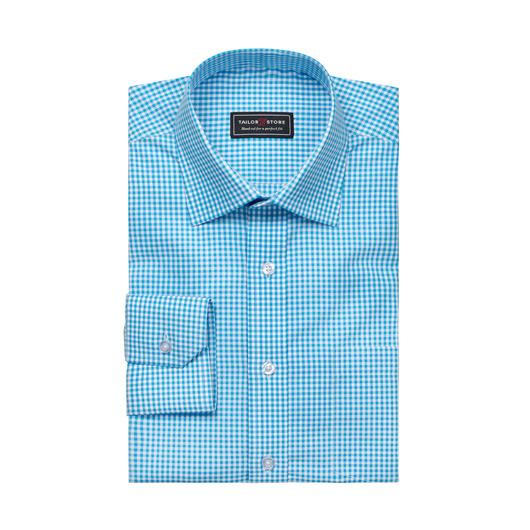 Hvit/Turkisrutete poplinskjorte