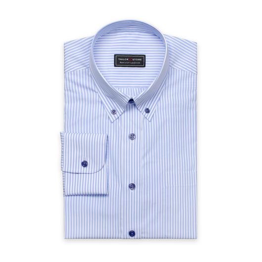 Blå/Hvit stripete poplinskjorte