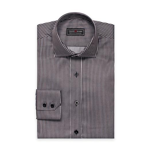 Schwarz/weiß gestreiftes Twill-Hemd