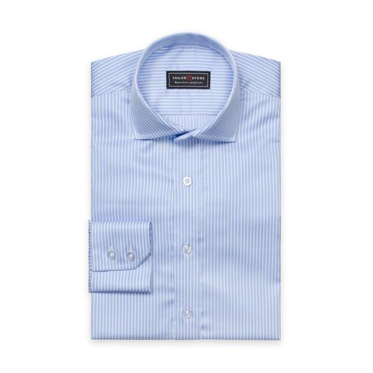 Ljusblå/vitrandig twillskjorta