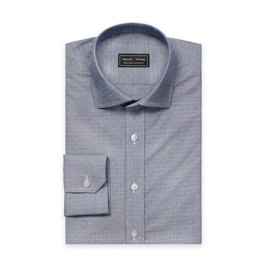 Marineblå skjorte i dobbyvevd bomull