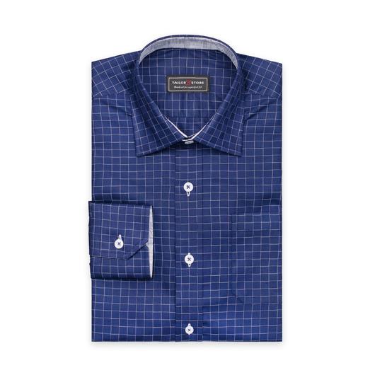 Chemise bleue foncé avec des carreaux blancs avec un col business classique