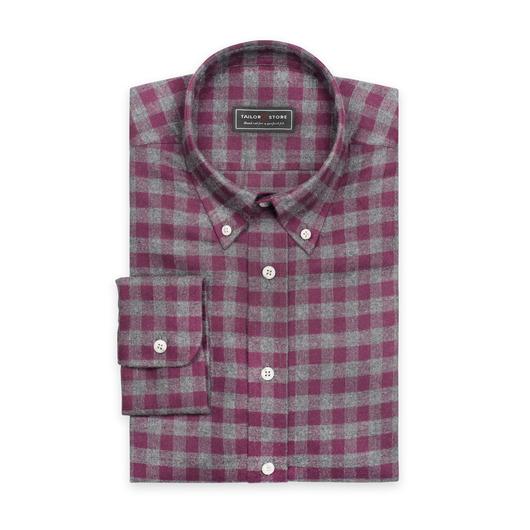 Paars/Grijs geruit flanellen overhemd