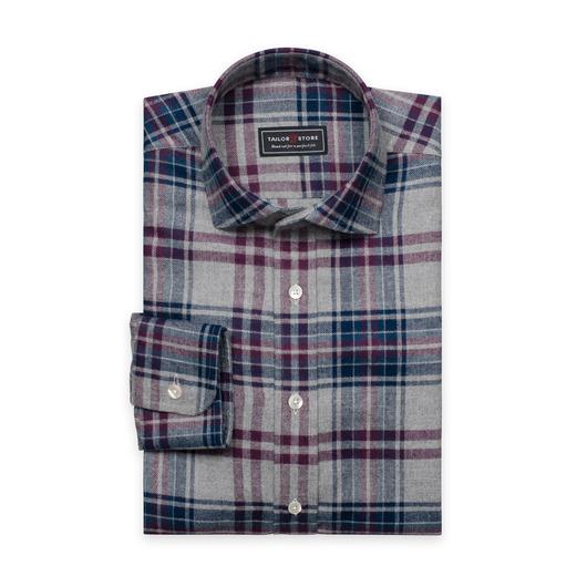Vinrød/grårutete flanellskjorte med cut-away classic-krage
