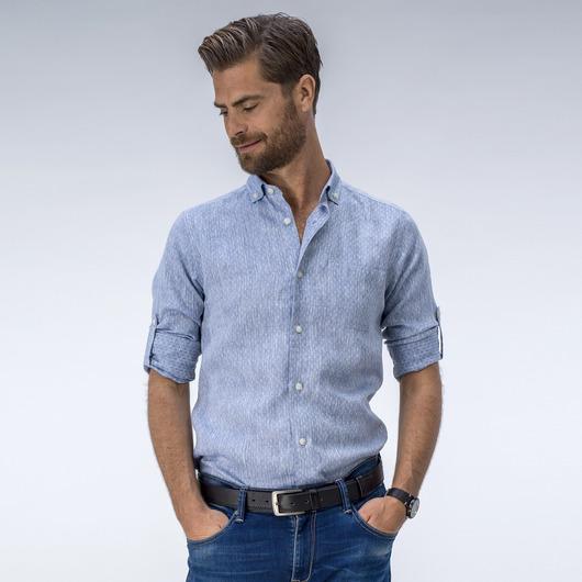 Elegant blauw linnen overhemd