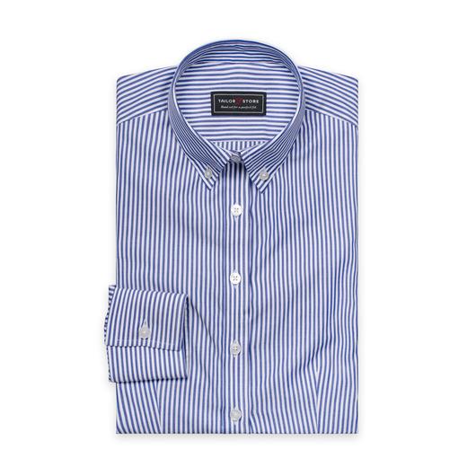 chemise rayée en popeline Blanc/Bleu foncé