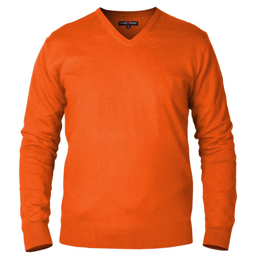 Concord - pull en coton pima à col en V en orange